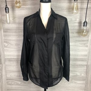 Ark & Co. Black Sheer Blouse Size Small